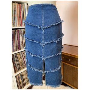 Vintage Skirts - Vintage 90's Denim Fringe Skirt 2 Piece Set